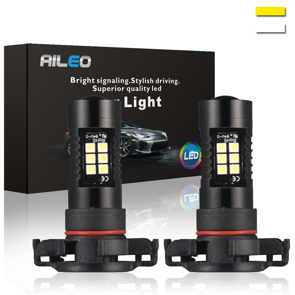 AILEO 2 piezas PS24W bombilla Led 5202 bombilla Led P13W PSX26W SMD luces 1200LM 6000K 12V blanco de conducción bombillas de luz para coche