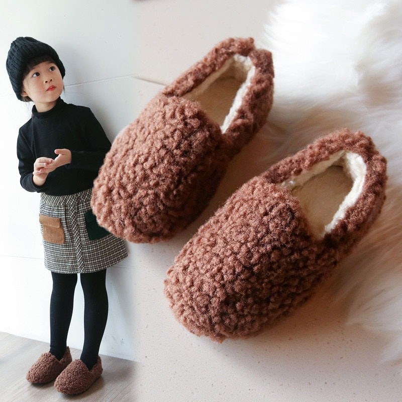 New Fashion Kids Cotton Shoes for Children Warm Shoes Lambs Wool Soft Soles Girls Casual Shoes for A