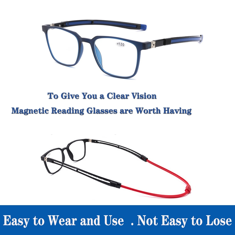 High-Grade TR90 Magnetic Absorption Hanging Neck Reading Glasses for Men and Women Portable Magnet Sports Presbyopic Magnifier