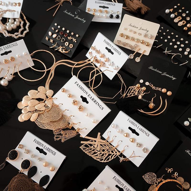 12 pari / set ženske naušnice set naušnice na ženke za ženski boemski modni nakit vintage geometrijske naušnice od kristalnog bisera