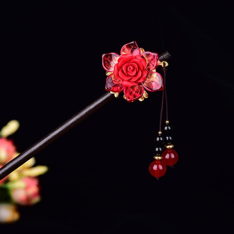 Estilo étnico antiguo princesa del palacio joyería de pelo Temperamental Calcedonia roja cinabrio sintético flor clásica palo de pelo