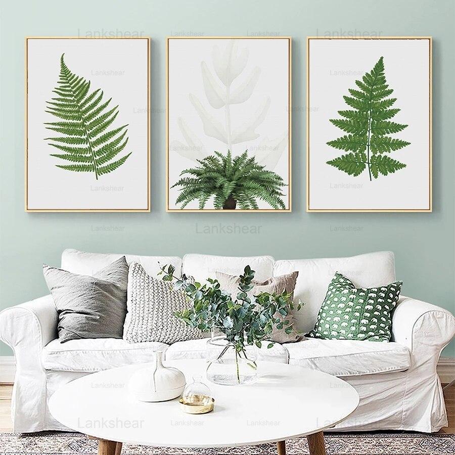 Estilo nórdico verde quadros da lona folha de samambaia poster pintados à mão aquarela plantas verdes parede fotos para o quarto decoração