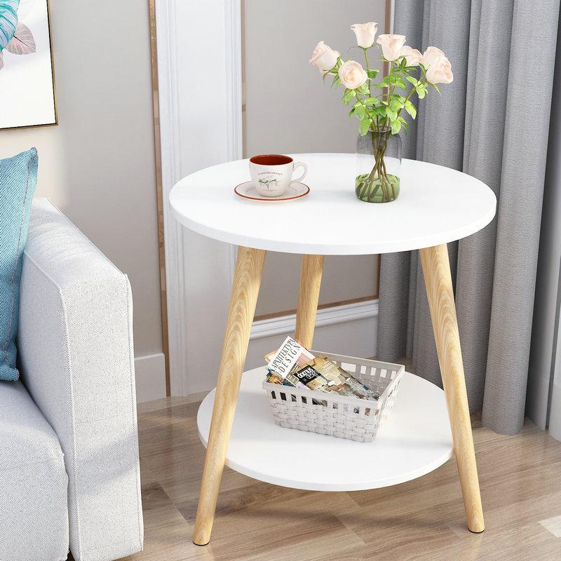 Simple Modern Nordic Mini Coffee Table Living Room Sofa Bedside Coffee Table Corner Small Round Table 22 size modern simple living room coffee table triangular and circle mini corner tea end table small coffee desk