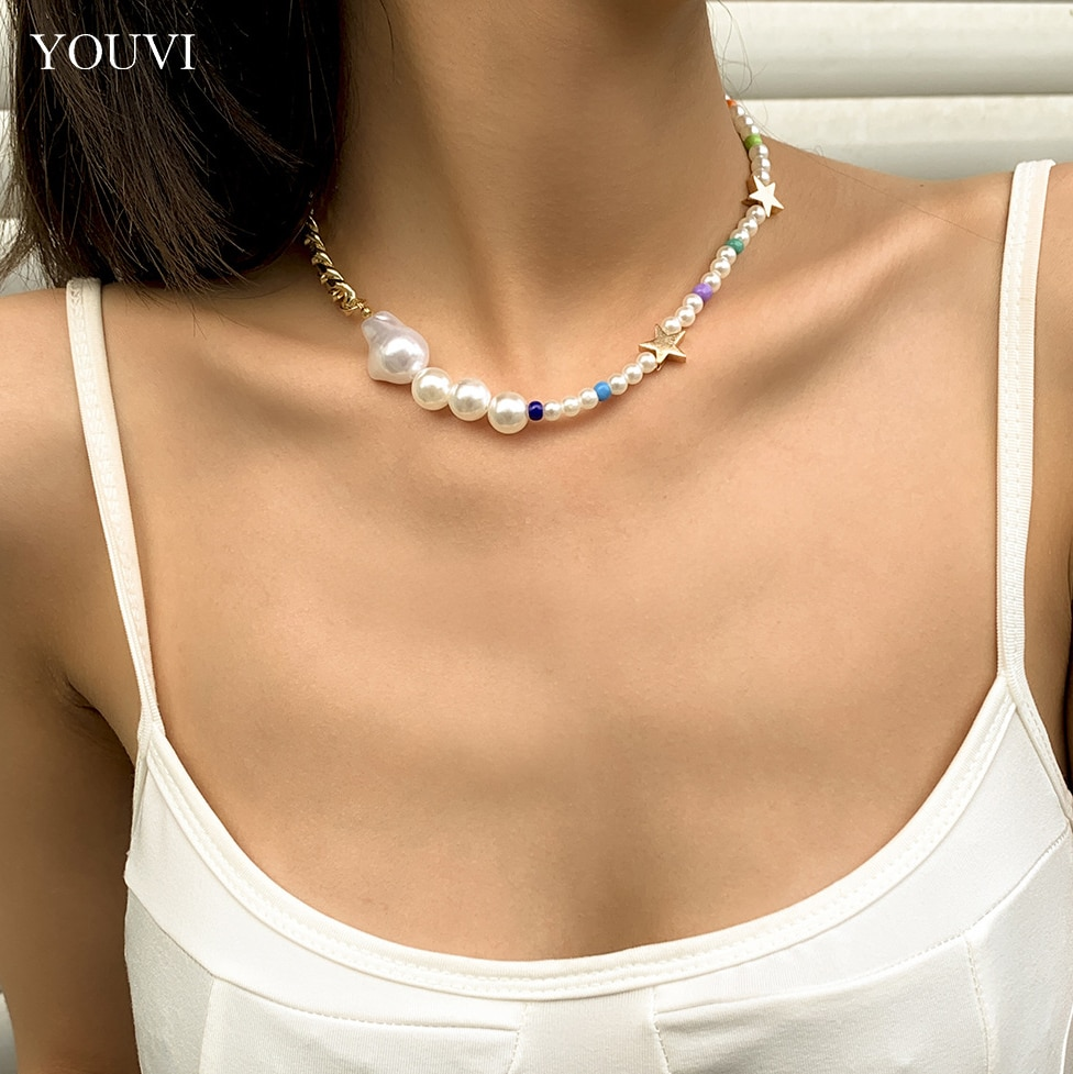 YOUVI Pearl Necklace for Women Metal Choker Women's Chain on the Neck Gothic Korea Fashion 2021 New Fashion Goth Pedants Jewelry