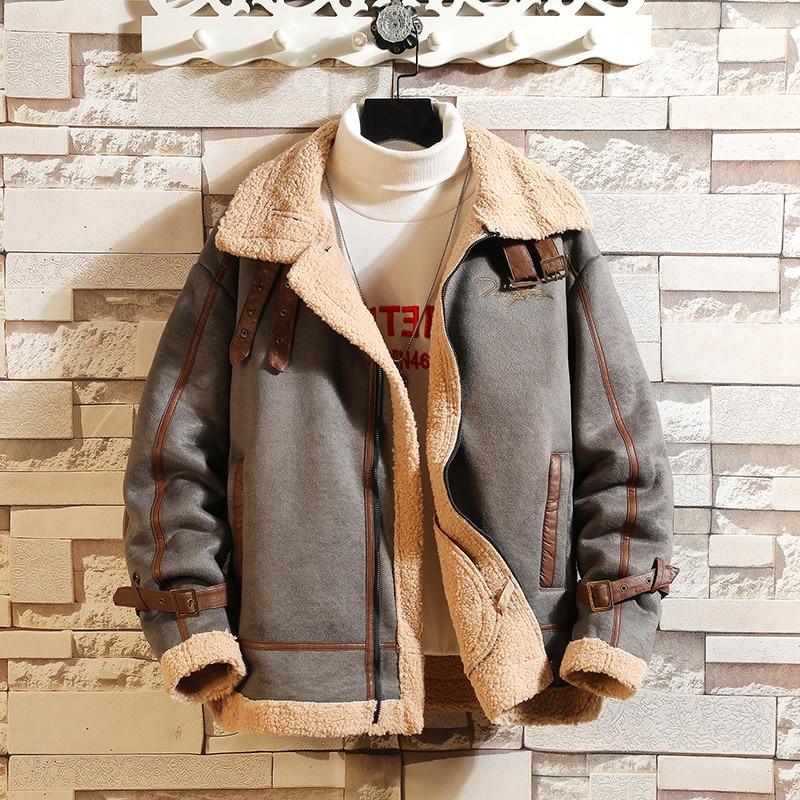 2021 autumn winter new lamb Keep warm velvet jacket men's fashion casual thick plush motorcycle Khaki jacket Grain fleece coat