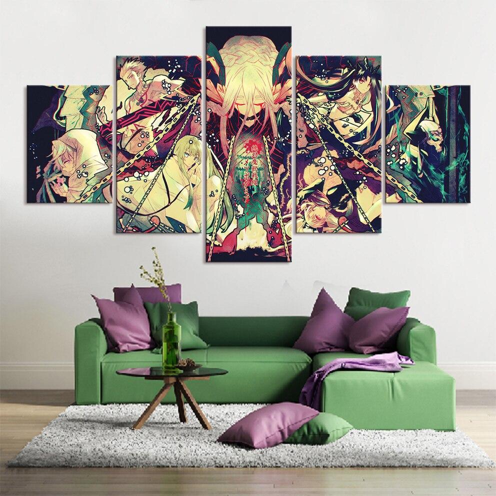 Hd imprime cartazes modulares fotos de arte 5 peças anime absoluto demoníaco frente babilônia quadros em tela sala estar decoração da sua casa