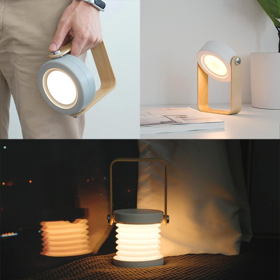 قابل للسحب نوم السرير القراءة ضوء للطي Led لمبة مكتب مقبض خشبي مصباح محمول ضوء للتخييم خيمة الطوارئ