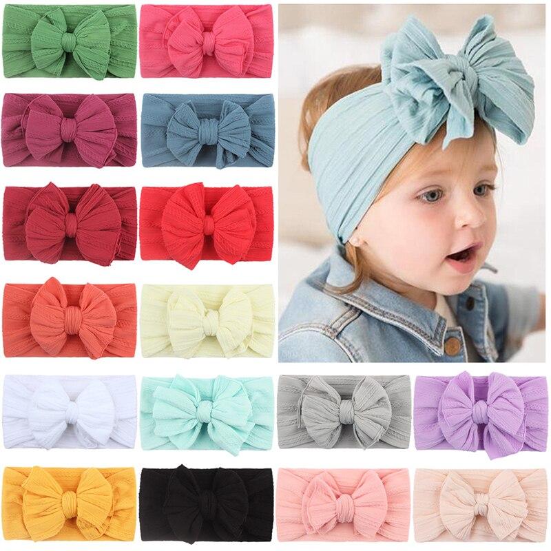 Baby Headbands Braid Soft Nylon Bow Headband Elastic Cable Knit Solid Wide Turban Girls Head Wrap Hair Accessories