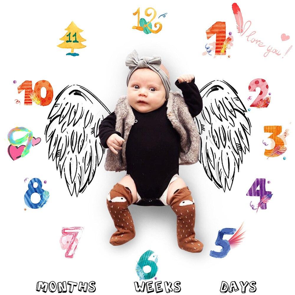 Newborn Growth Milestone Blanket Baby Photography Props Background Cartoon Pattern Play Mats Calendar Photo Accessories Gift