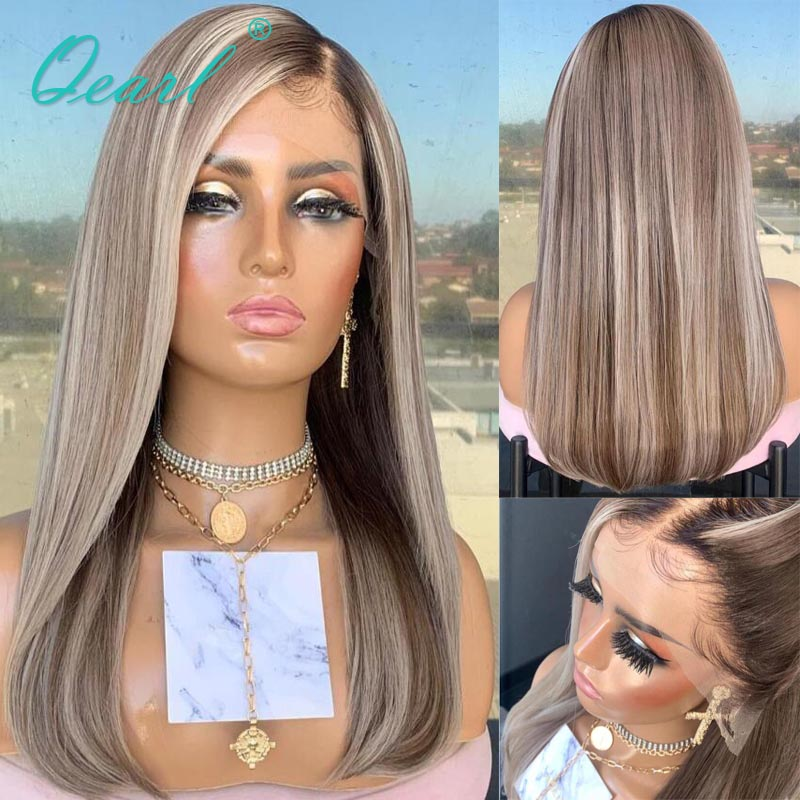 Transparent Deep Side Part 13x4/13x6 Lace Front Wig Light Grey Ash Brown Highlights Color Straight Human Hair Wig Remy Hair 150%