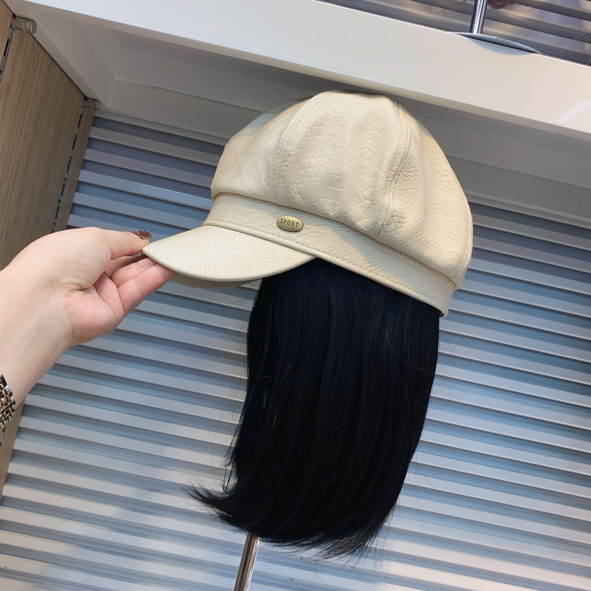 202101-shi الموضة حجر الحبوب بو قبعة المرقعة كول كاذبة الشعر الرياضة سيدة خدمة مثمنة قبعة المرأة الترفيه أقنعة قبعة