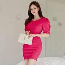 New Elegant Rose Pink Short Party Club Dress Women 2021 knitting round collar Puff sleeve Slim Penci