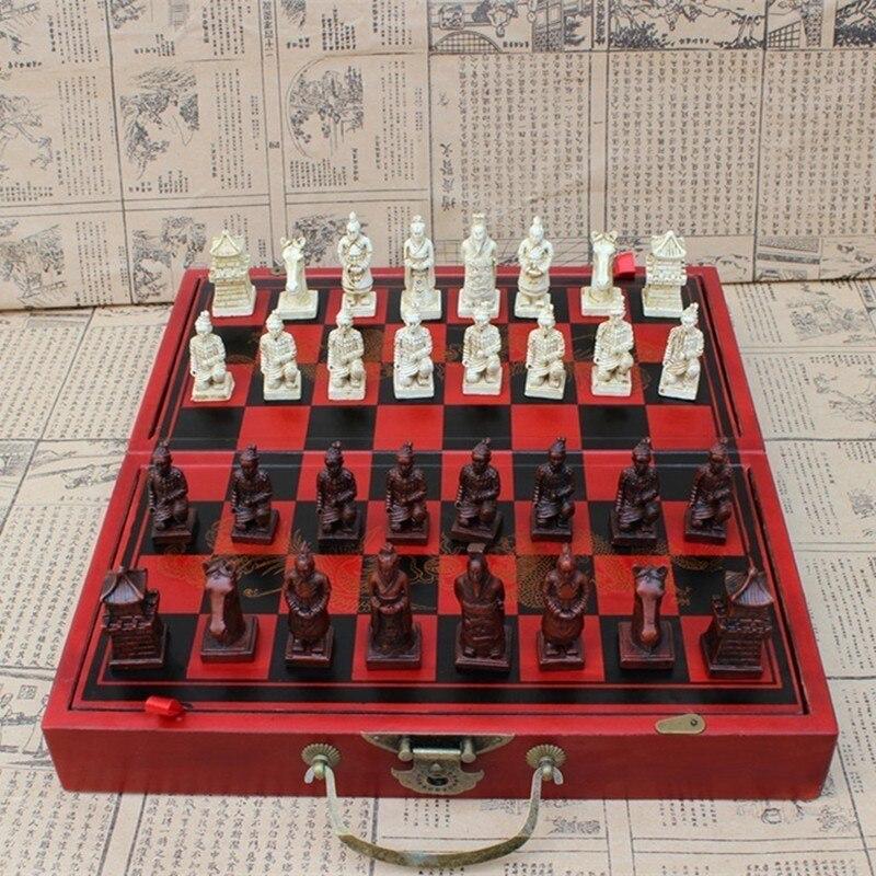Антикварные шахматы средние терракотовые шахматы антикварные деревянные складные шахматные доски трехмерные персонажи развлечения