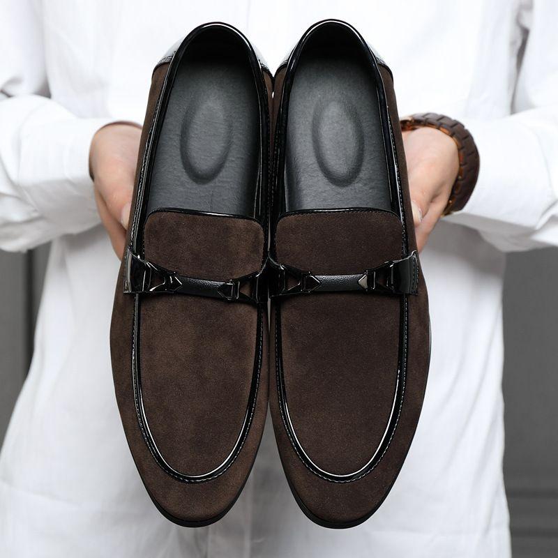 2021 New Men PU Stitching Business Formal Dress Leisure Sleeve Foot Korean Classic British Fashion W