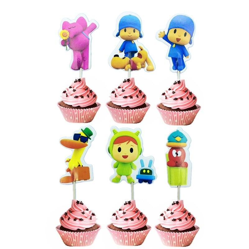 Little Boy POCOYO 4 cupcake con tema torta topper Feliz cumpleaños niños baby shower suministros de decoración de fiesta decoraciones con mondadientes 24 Uds