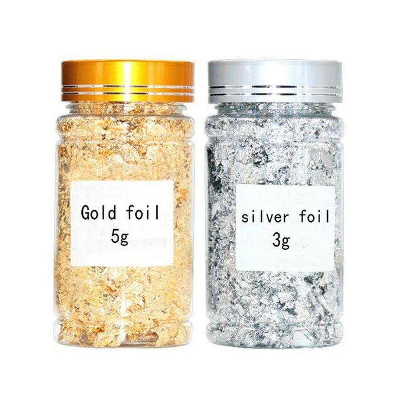 3g 5g, золотой, серебряный лист, хлопья, смола, ювелирное наполнение, чехол для телефона, украшения для ногтей, сделай сам, искусство и ремесло