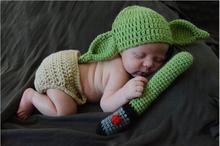 Nouveau-né tricoté Star Wars Yoda tenues accessoires de photographie Crochet bébé chapeau et pantalon ensemble nouveau-né bébé douche cadeau 0-1M ou 3-4M
