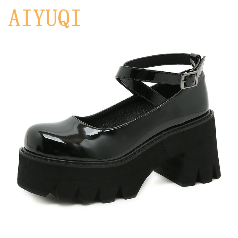 Female Mary Jane Shoes Large Size 41 42 New High Heel Platform Ladies Shoes Patent Leather Student J