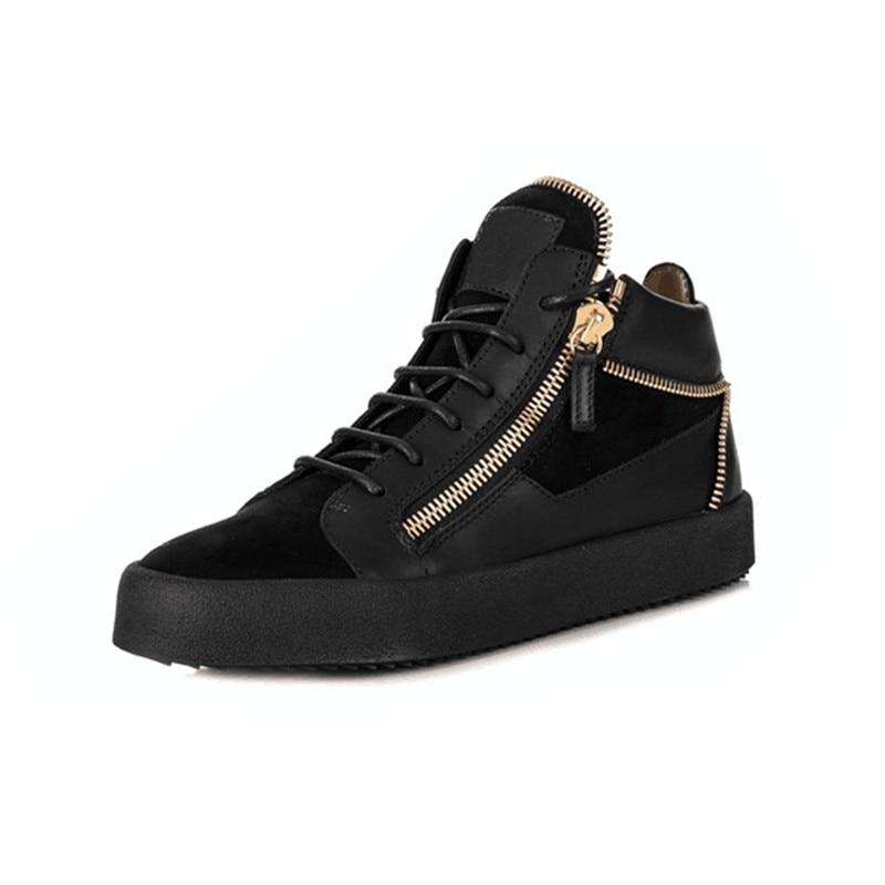 أحذية رياضية سوداء للرجال ، أحذية رياضية بأربطة وسحاب ذهبي ، غير رسمية ، قابلة للتنفس ، مقاومة للماء