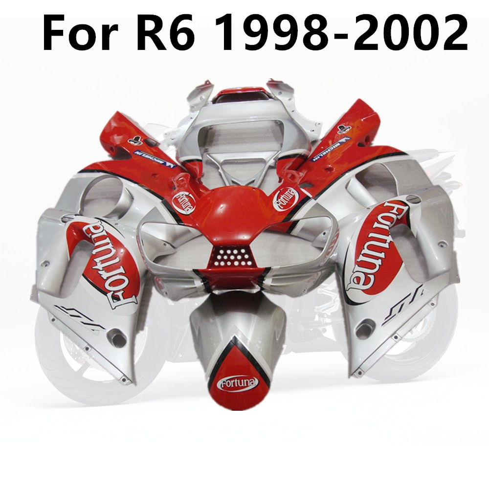 دراجة نارية R6 1998 1999 2000 2001 2002 98 99 01 02 من ياماها مجموعة هدايا كاملة بأحرف حمراء وفضية
