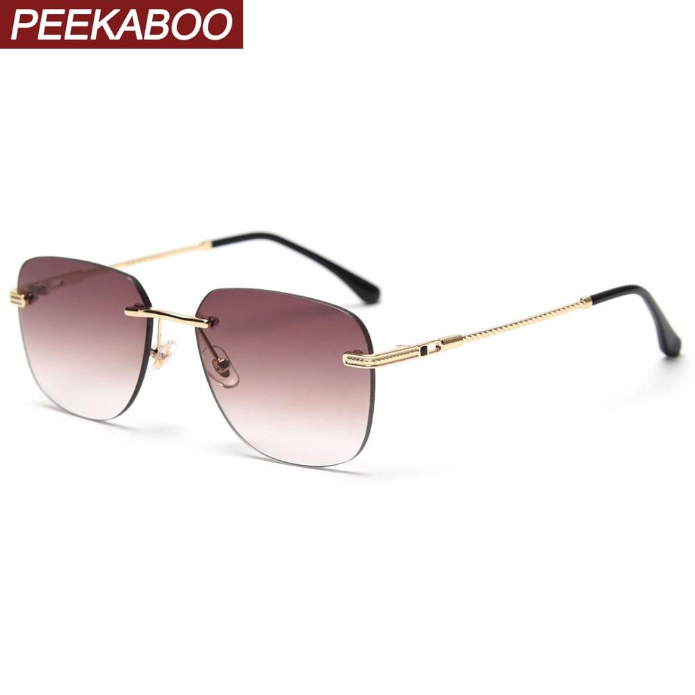 Peekaboo rimless square frame sunglasses for women uv400 gradient tinted sun glasses for men framele