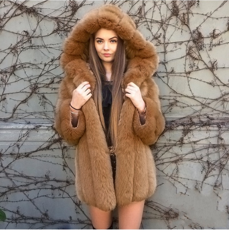 Elegant Women Winter Fashion Warm Coats And Jackets Mid-Length Hooded Faux Fox Fur Leather Pink 3xl 4xl 5xl Plus Size Outwear