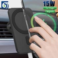 15 Вт магнитное беспроводное автомобильное зарядное устройство для Iphone 12 Pro Mini Magsafing Быстрая зарядка держатель для телефона Подставка для ...