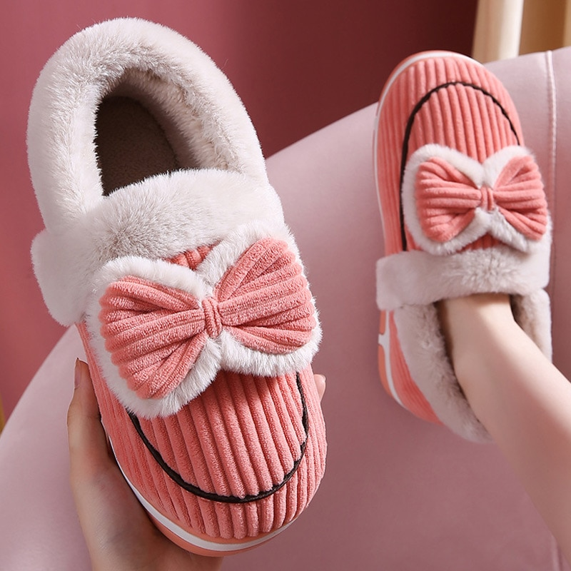 Women Slippers Winter Bow Warm Plush Home Cotton Shoes Female Flock Lovely Couple Comfortable Indoor
