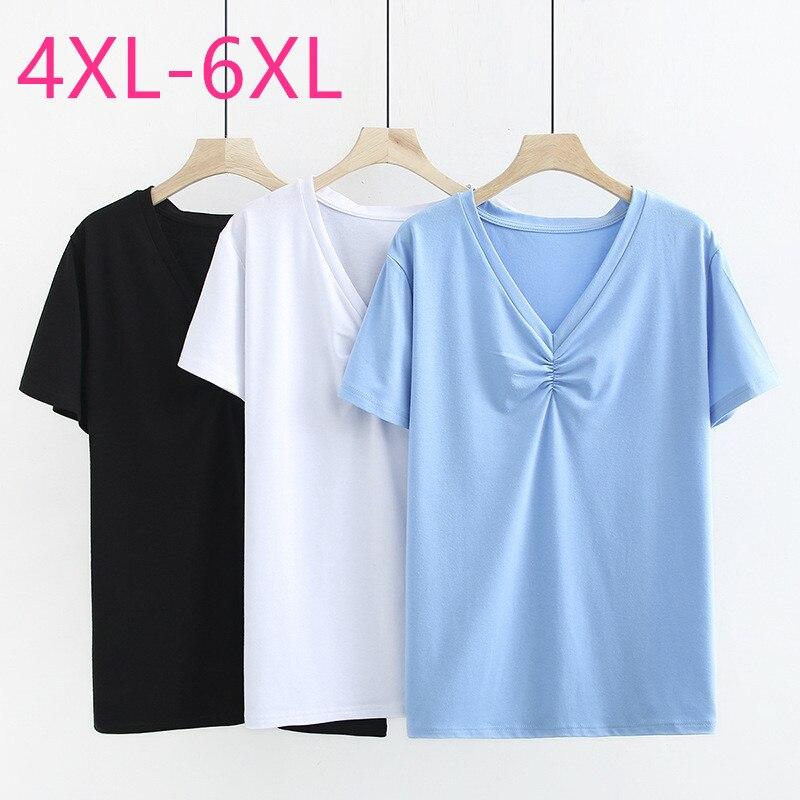 Novedad de 2020, tops de talla grande de verano para mujer, de manga corta Camiseta holgada, informal, azul de algodón, Blanco, Negro, cuello en V, camiseta 4XL 5XL 6XL
