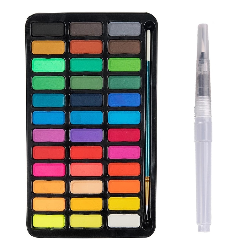 12/18/24/36 Colors Solid Watercolor Paint Set Portable Metal Box With Water Color Brush School Kids Professional Art Supplies enlarge