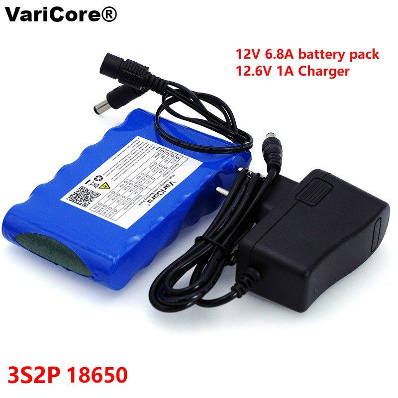 VariCore portátil Super 18650 recargable batería de iones de litio capacidad DC 12 V 6800 Mah cámara CCTV Monitor 12,6 V 1A cargador