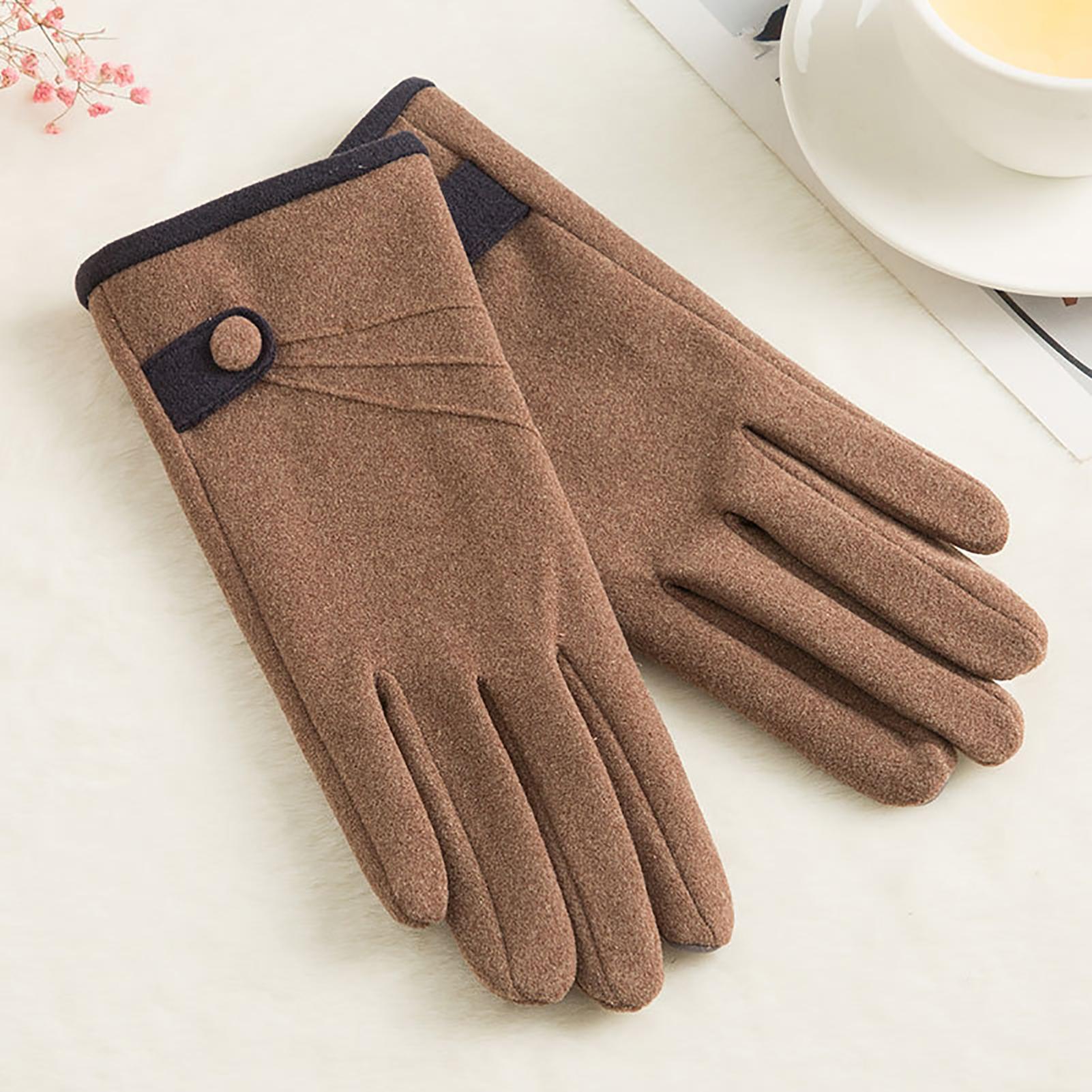 Women Outdoor Winter Touch Screen Warm Gloves Thicken Full Finger Riding Mittens