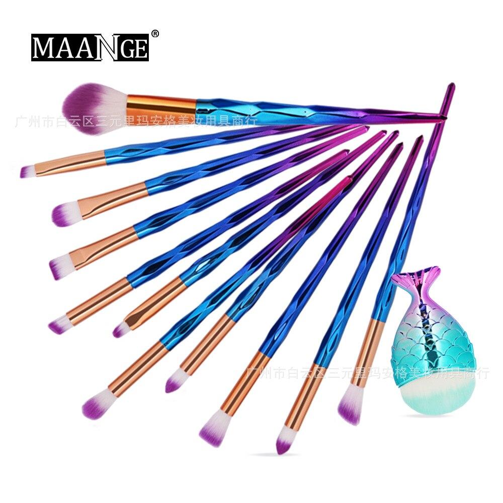Hot Selling MAANGE 12 Diamond Handle Makeup Brush Plus Small Fish Foundation Brush Set Cosmetic Tools Gift for Women