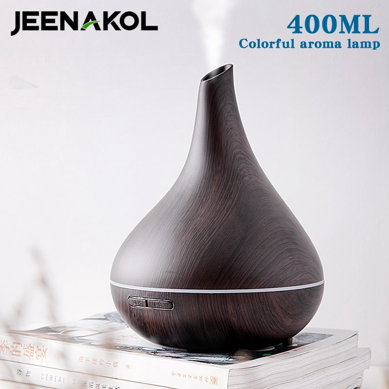 400ML Home Silent Aroma Diffuser Colorful Wood Grain Bedroom Humidifier Desktop Ultrasonic Essential Oil