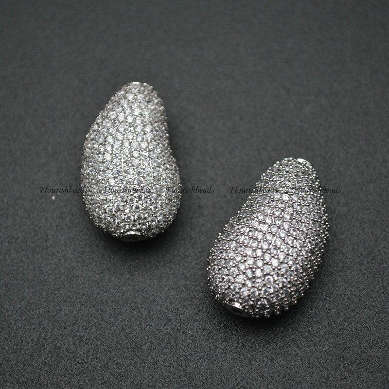 18x30mm High Quality Muti Color Paved Real CZ Zircon Irregular Metal Beads DIY Fashion Jewelry Findings 5pc/lot