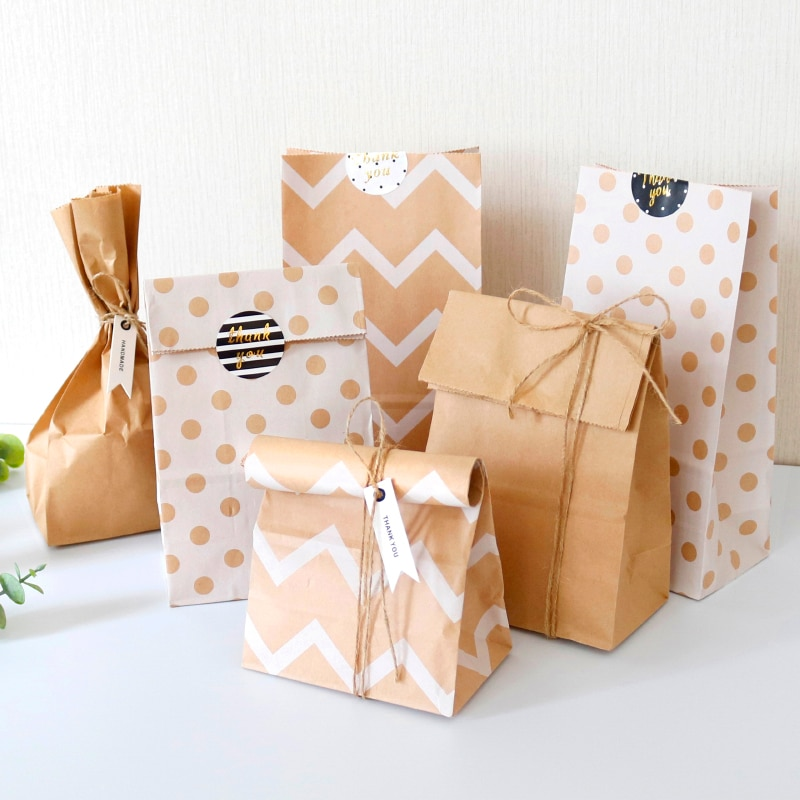 6sets Kraft Paper Bags Candy Treat Bags Dot Zigzag Blank Craft Gift Bag Wedding Birthday Party Favo Bag Gift Wrapping Supplies