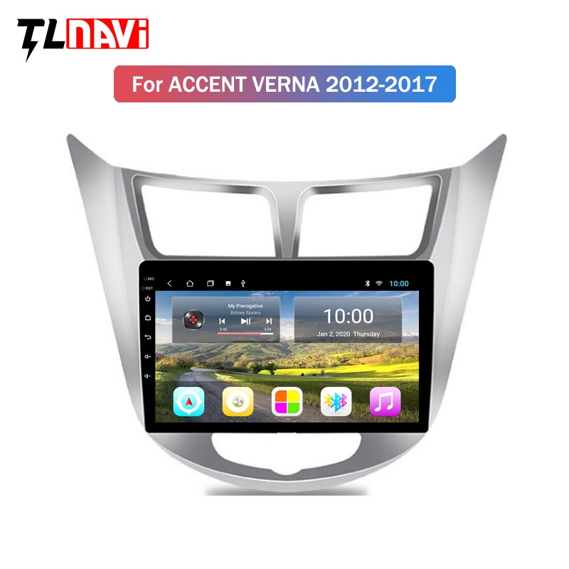 2G RAM 9 Inch Android 10 Car Dvd Gps Player For Hyundai accent Verna 2012-2017 Radio Video Navigation Bt Wifi