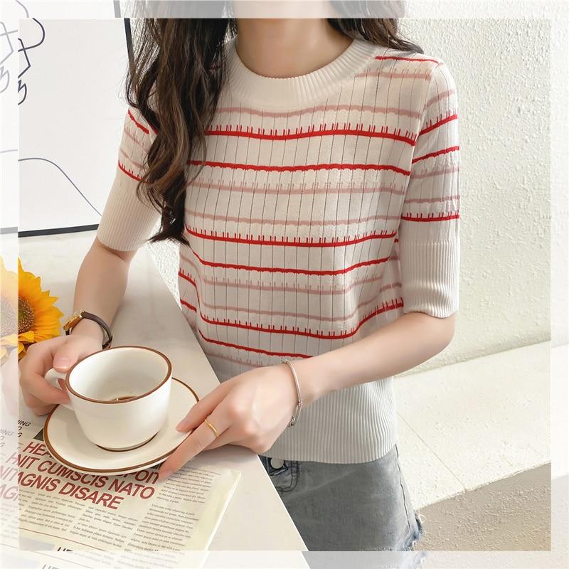 CMAZ Women T-Shirt Half Sleeve Lady T Shirt Striped Summer Spring Autumn Thin Sweater Casual O-neck