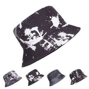 Spring And Summer Unisex Bucket Hats Simple Style Cotton Doodle Pattern Sunshade Can Be Folded Outdoor Play Visor Caps