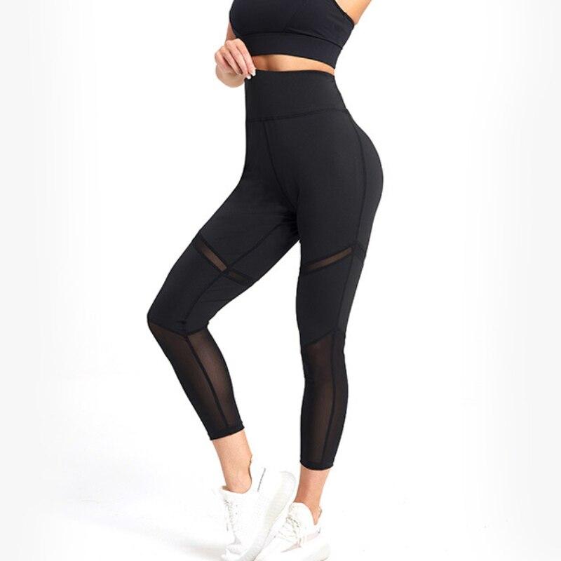 Women Mesh Patchwork Sport Leggings High Waist Tights Pants Solid Sports Wear for Women Gym Push Up Yoga Pants Plus Size