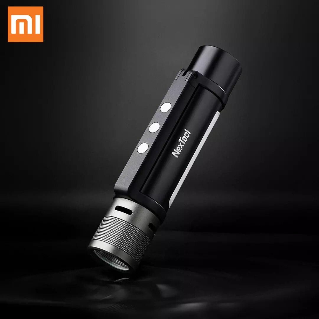 Xiaomi-مصباح يدوي خارجي LED ، 6 في 1 ، مصباح يدوي فائق السطوع للتخييم ، مقاوم للماء ، مع زووم ، مصباح طوارئ محمول