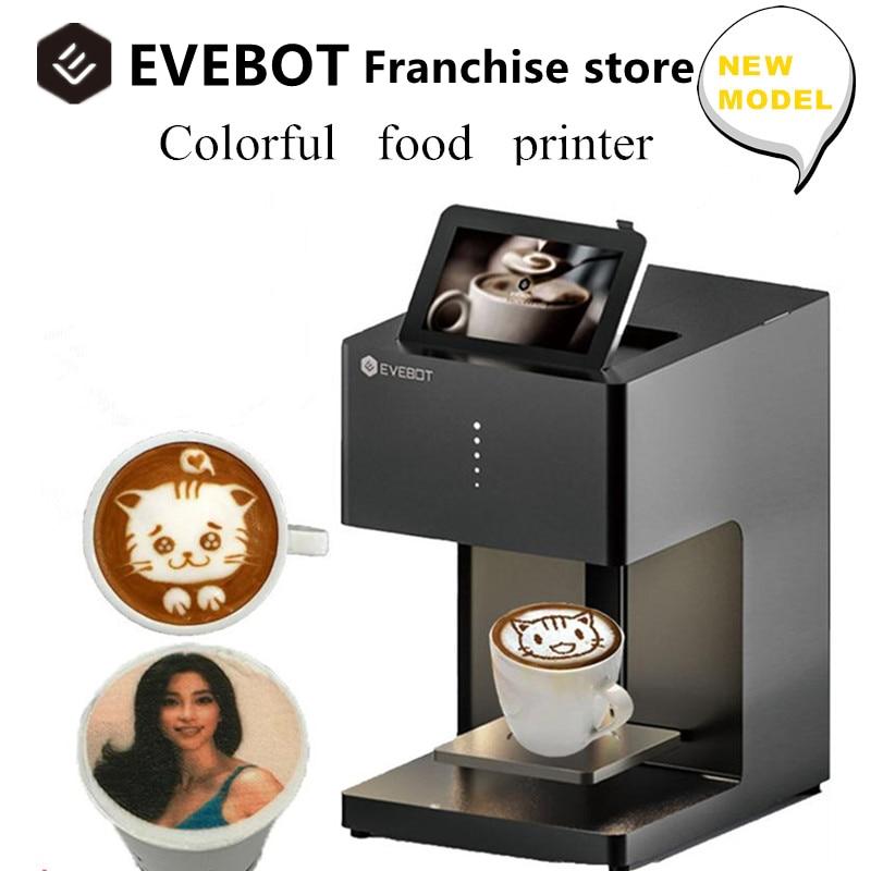 ماكينة طباعة قهوة لاتيه ثلاثية الأبعاد من EVEBOT ماكينة طباعة أوتوماتيكية للمشروبات صور شخصية للطعام مع اتصال واي فاي خراطيش حبر صالحة للأكل