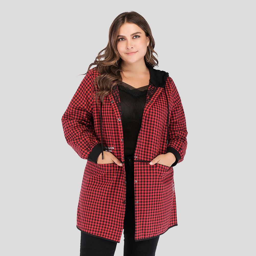Automne mode nouvelles grandes femmes classique Plaid à capuche mince épissage décontracté coupe-vent manteau avec poches rouge printemps lâche Trench