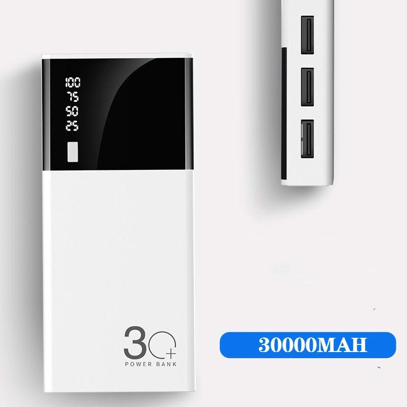 Triple USB LCD mi rror 30000mah batería externa PoverBank Powerbank cargador de teléfono móvil para Xiaomi mi iphone X