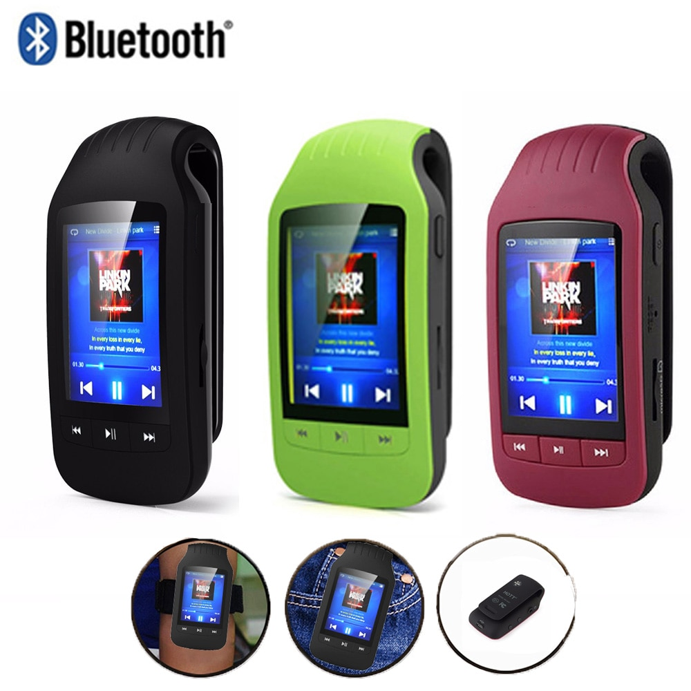 Bluetooth MP4 Player 8GB Sport  Mini Clip HD MP4 Music Player Support Pedometer FM Radio Recording sd Card Slot 1.8 Inches 1037