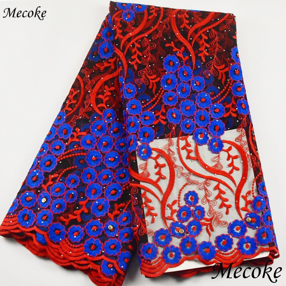 2019 nova chegada laço líquido africano com vermelho azul francês tecido de renda esmeralda cabo africano renda líquida material para festa vestido