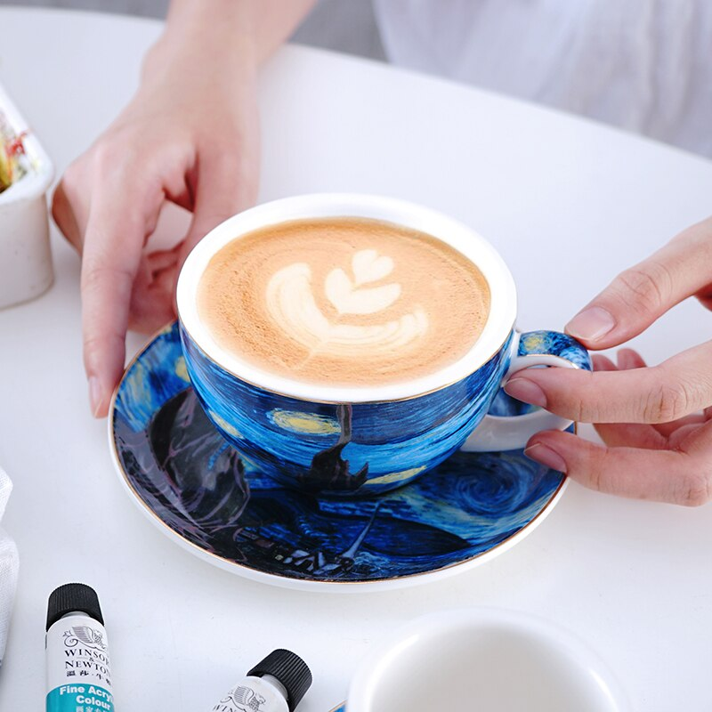 Van Gogh Starry European Small Luxury Coffee Cup Set Latte Flower Cup Cappuccino Afternoon Tea Mug WF819345