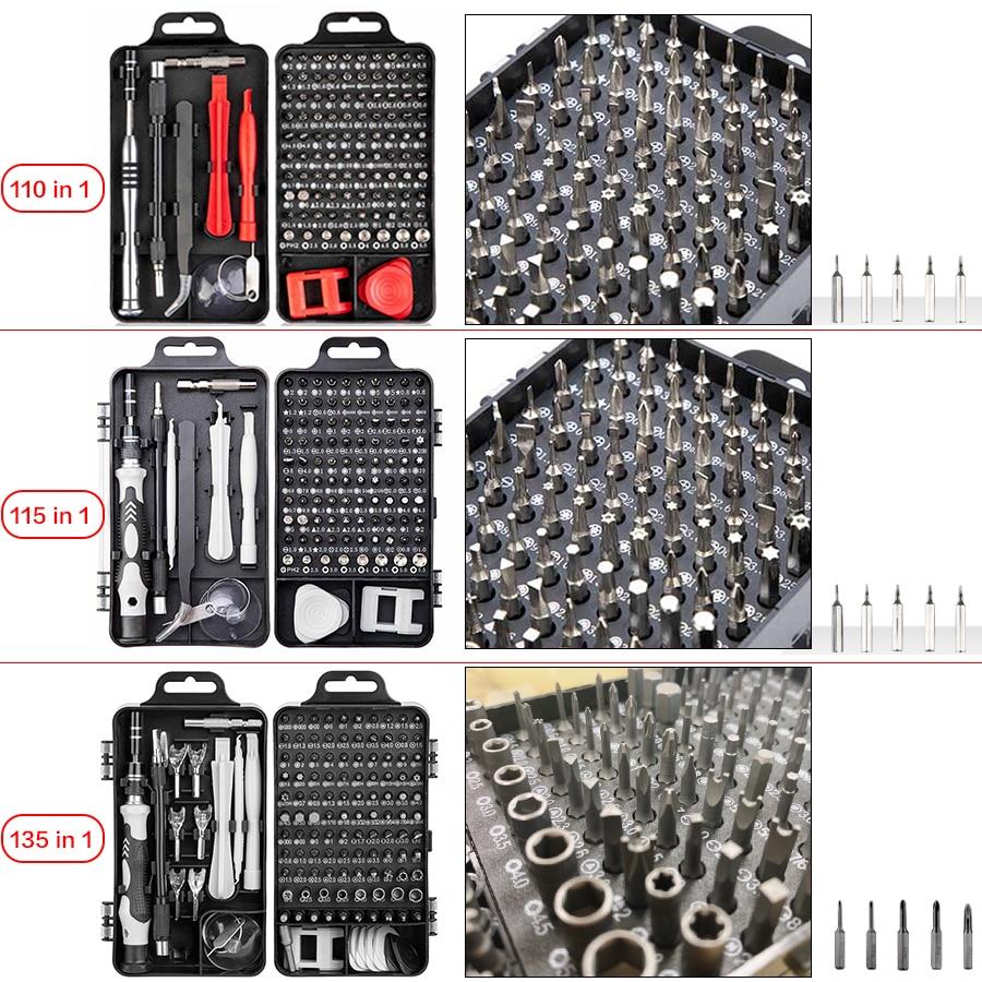 Multi Screwdriver Set With 98 Precision Bit 135/115/110/25 in 1Hand Tool Screwdrivers For Computer PC Mobile Phone Repair Tools enlarge