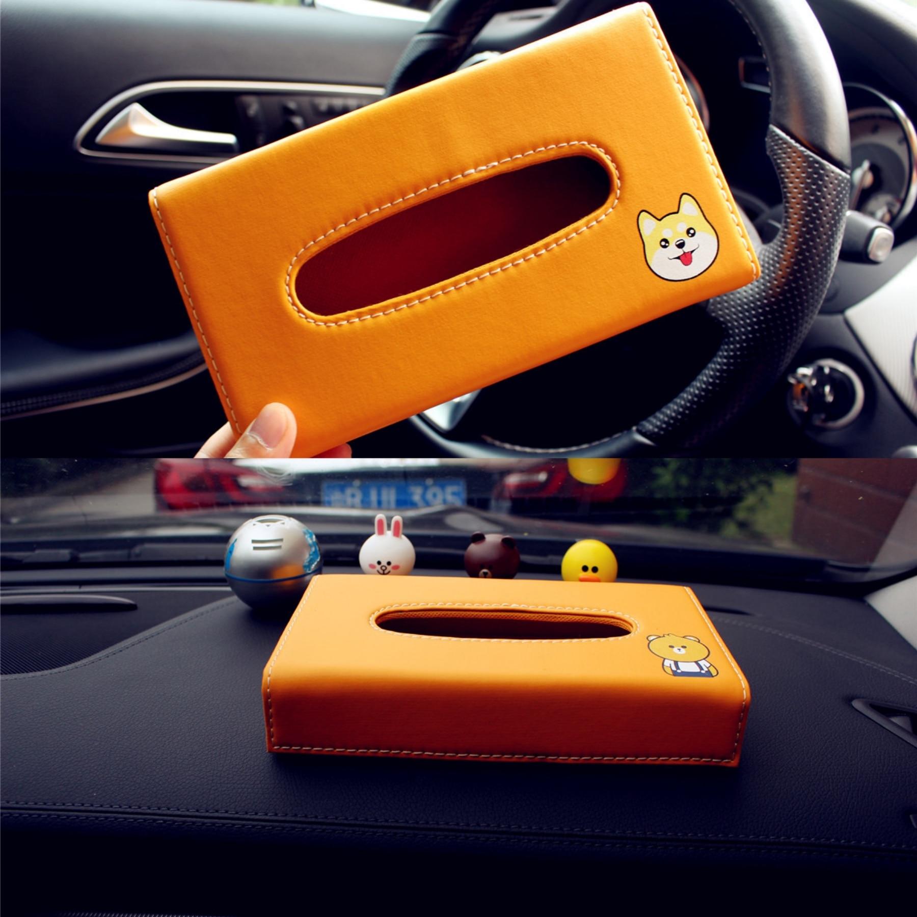 Caixa do Tecido carro da Viseira de Sol PU Couro Caso Carton Acessórios Do Carro Pendurado Saco De Tecido Auto Titular Sombrinha