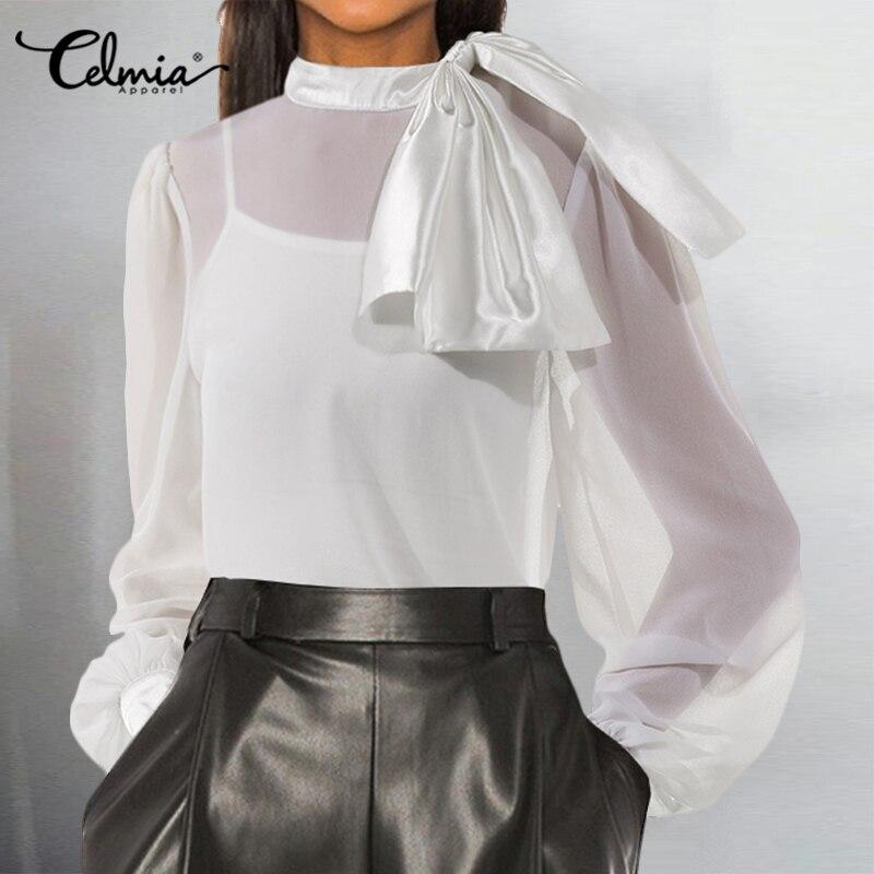 2020 Satin Blouse Celmia Women Elegant OL Bow Fashion Top Long Sleeve Sexy See-through Chiffon Shirt Casual Solid Office Blusas